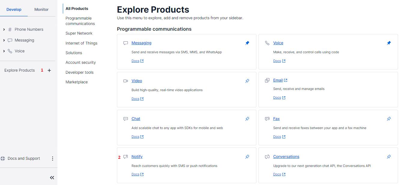 Twilio Explore Products - Notify