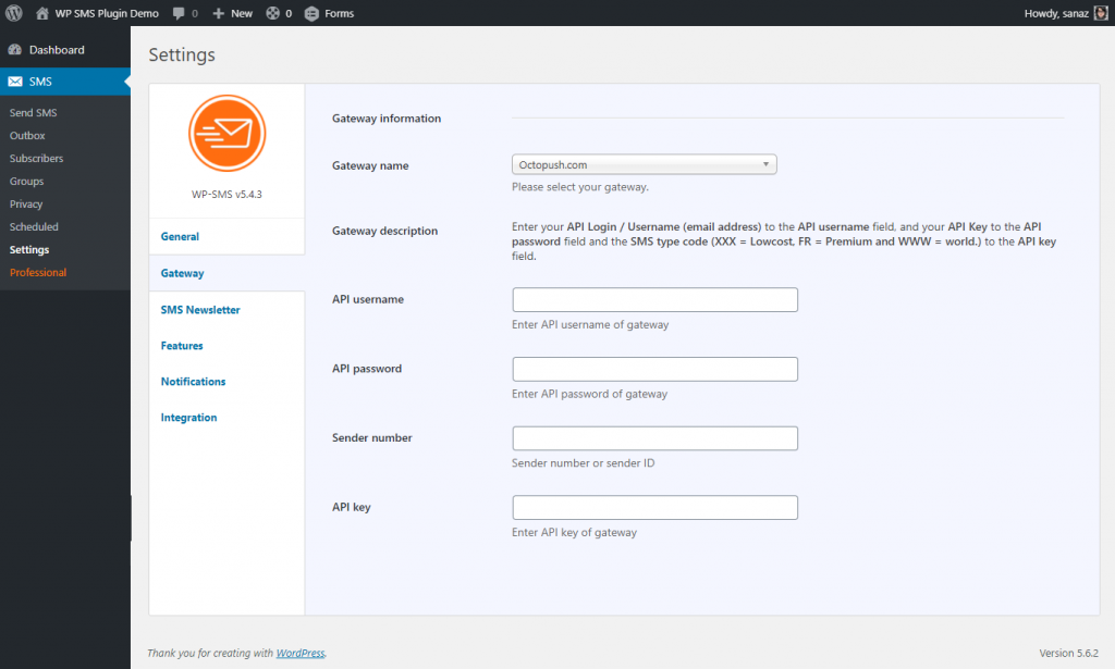 Octopush SMS Gateway & WP SMS Plugin