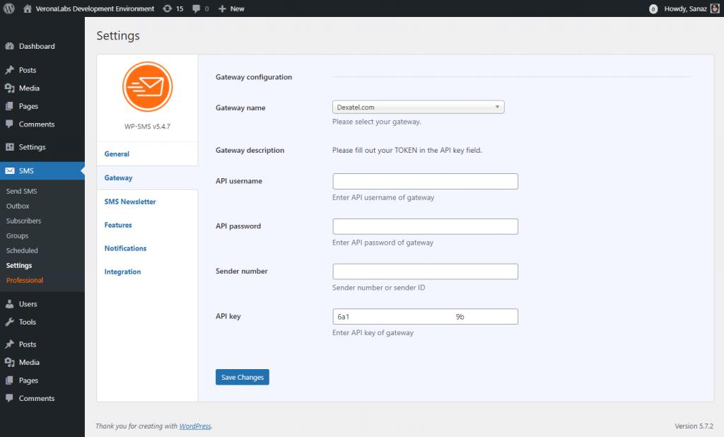 Dexatel Gateway Configuration - WP SMS Plugin