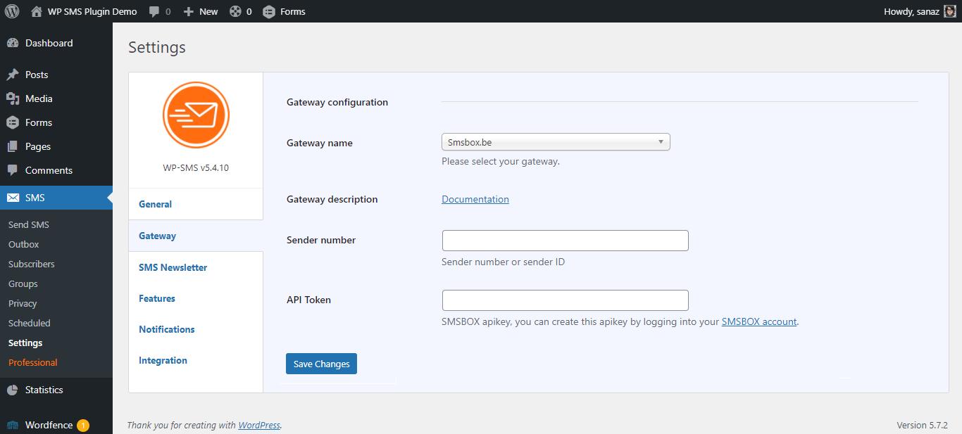SMSBox Gateway Configuration