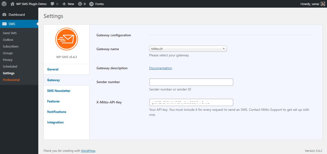 mitto Gateway Configuration