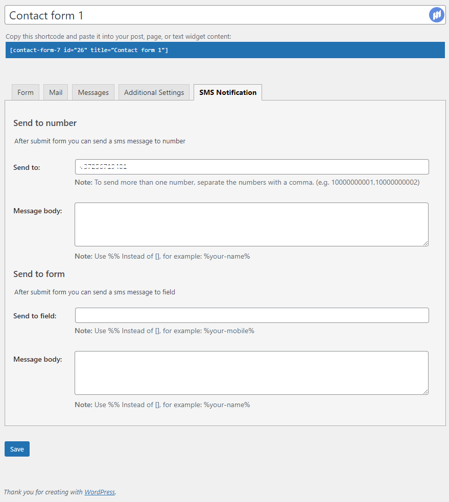 Integrate WP SMS with Contact Form 7