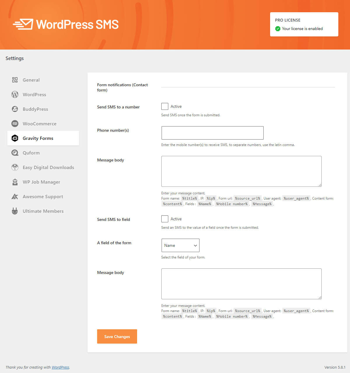 Integrate WP SMS Pro with Gravity Forms