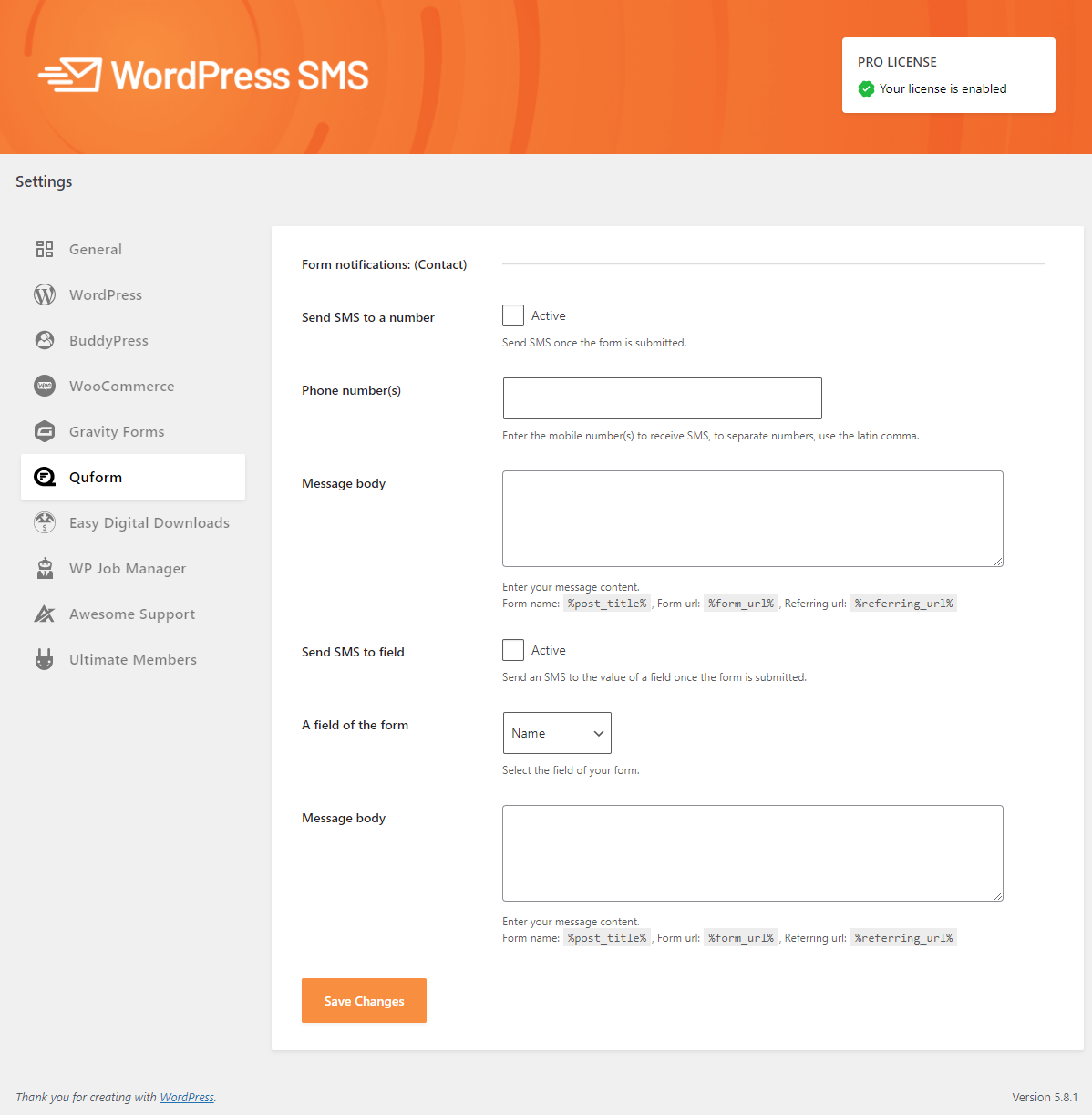 Integrate WP SMS Pro with Quform